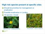 high risk species present at specific sites