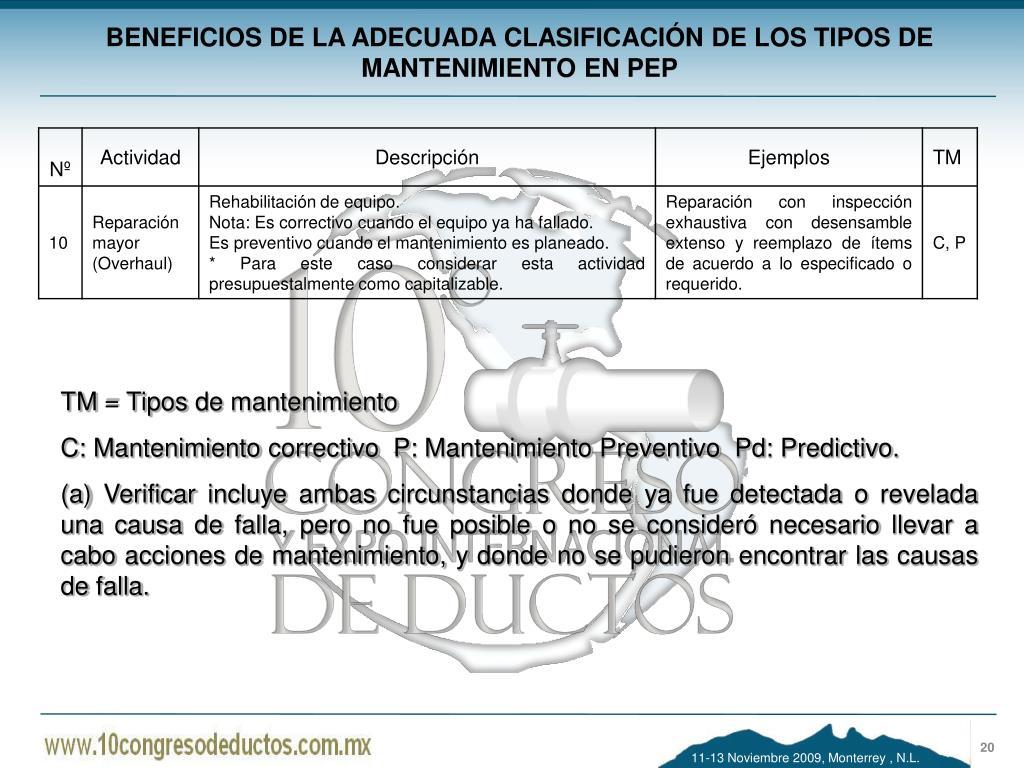 BENEFICIOS DE LA ADECUADA CLASIFICACIÓN DE LOS TIPOS DE MANTENIMIENTO EN PEP