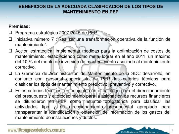 Beneficios de la adecuada clasificaci n de los tipos de mantenimiento en pep3