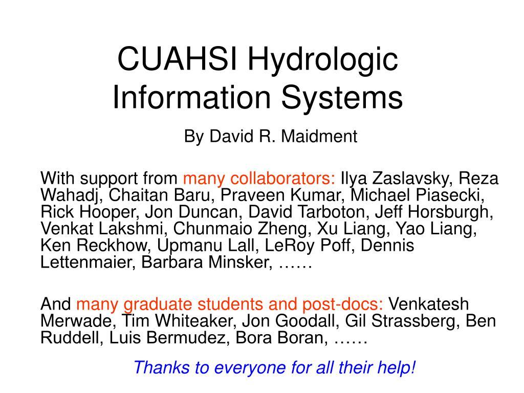 cuahsi hydrologic information systems l.