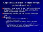 a special asset class hedged foreign portfolio investment
