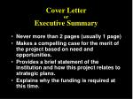 cover letter or executive summary
