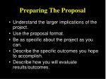 preparing the proposal