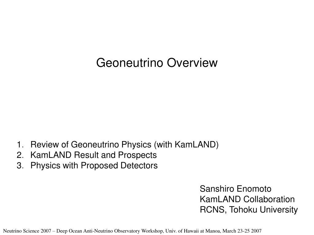 Geoneutrino Overview