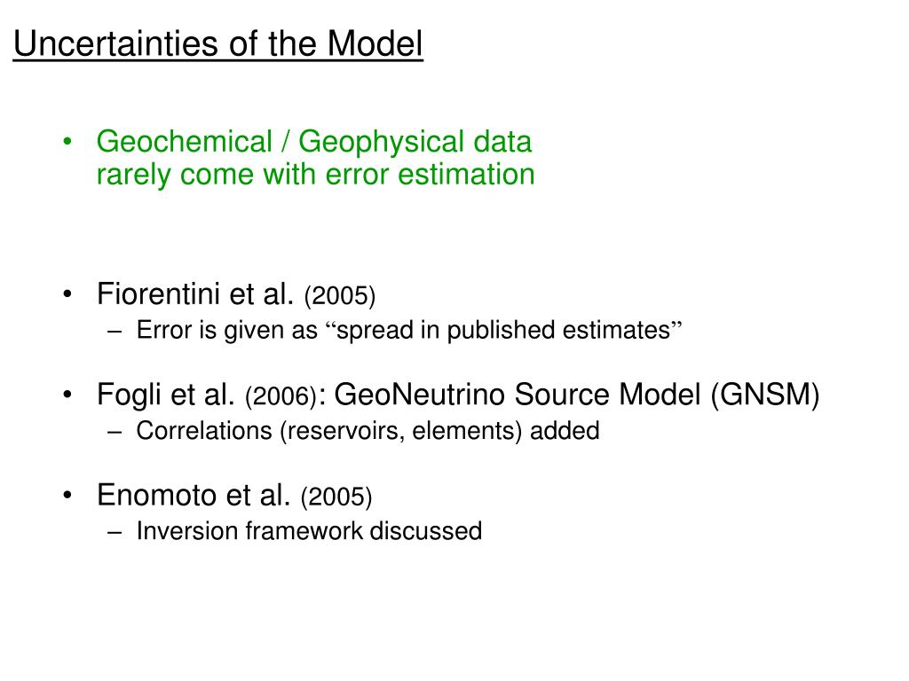 Uncertainties of the Model