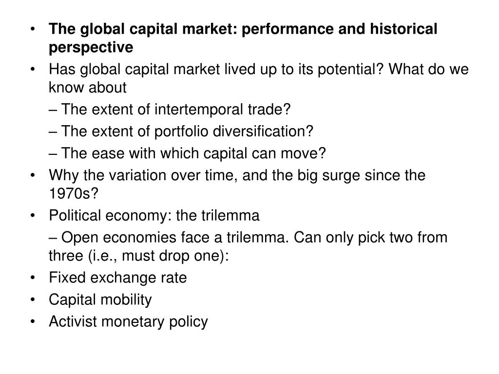 The global capital market: performance and historical perspective