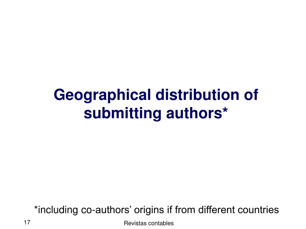 Geographical distribution of submitting authors*