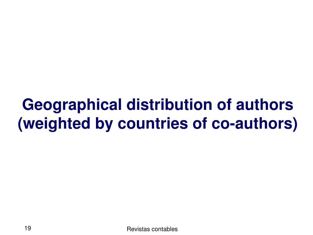 Geographical distribution of authors