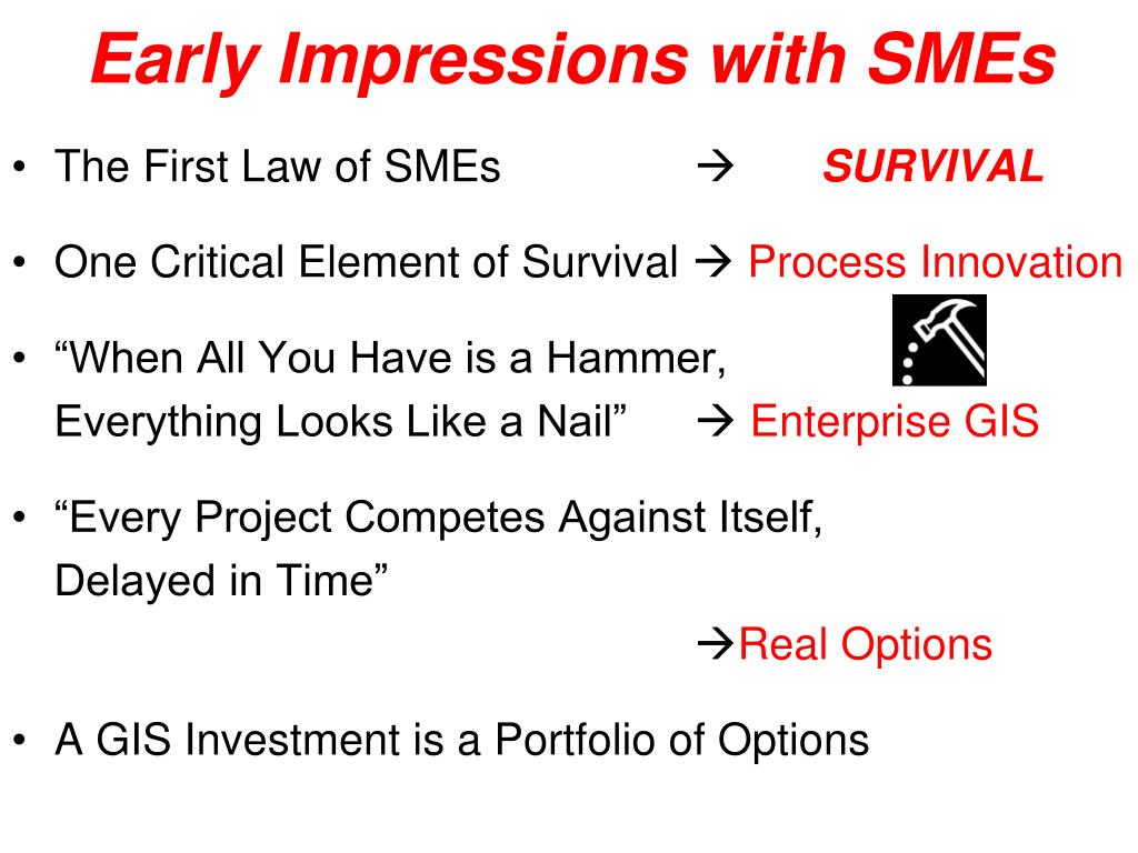 Early Impressions with SMEs