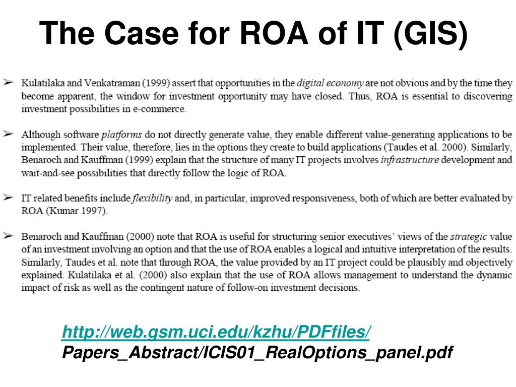 The Case for ROA of IT (GIS)