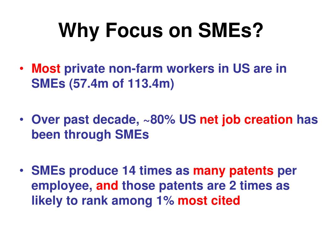 Why Focus on SMEs?
