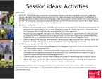 session ideas activities