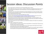 session ideas discussion points