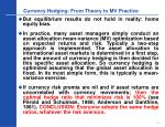 currency hedging from theory to mv practice