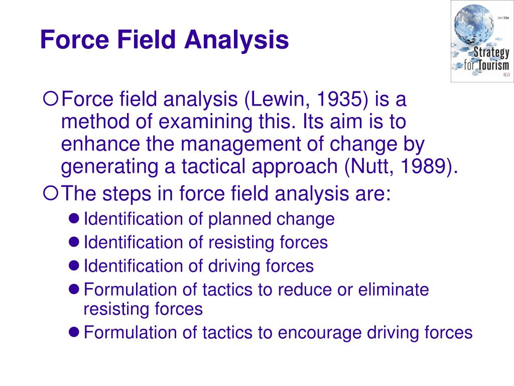 Force field analysis (Lewin, 1935) is a method of examining this. Its aim is to enhance the management of change by generating a tactical approach (Nutt, 1989).