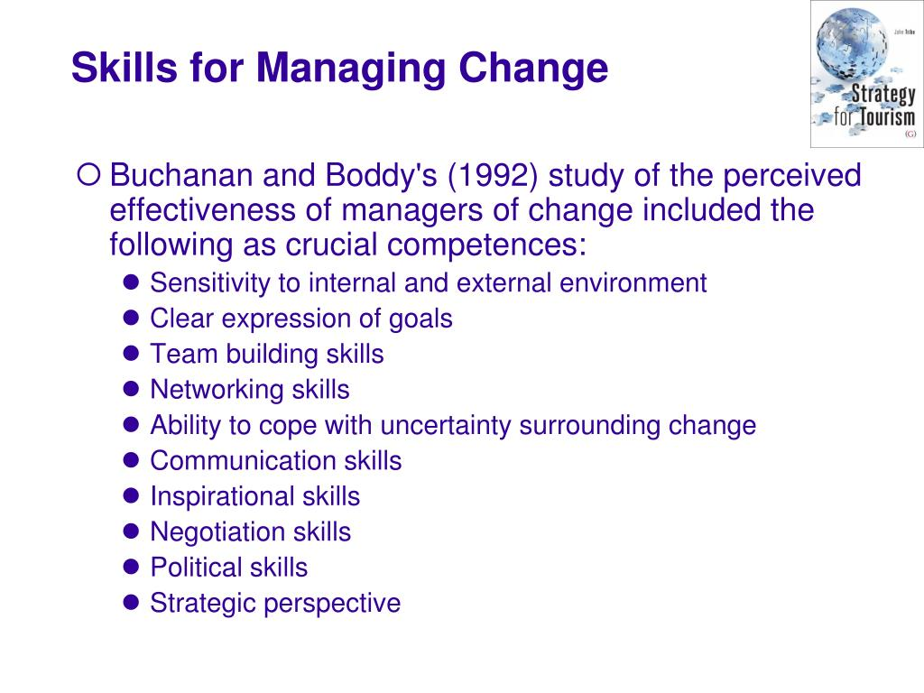 Buchanan and Boddy's (1992) study of the perceived effectiveness of managers of change included the following as crucial competences:
