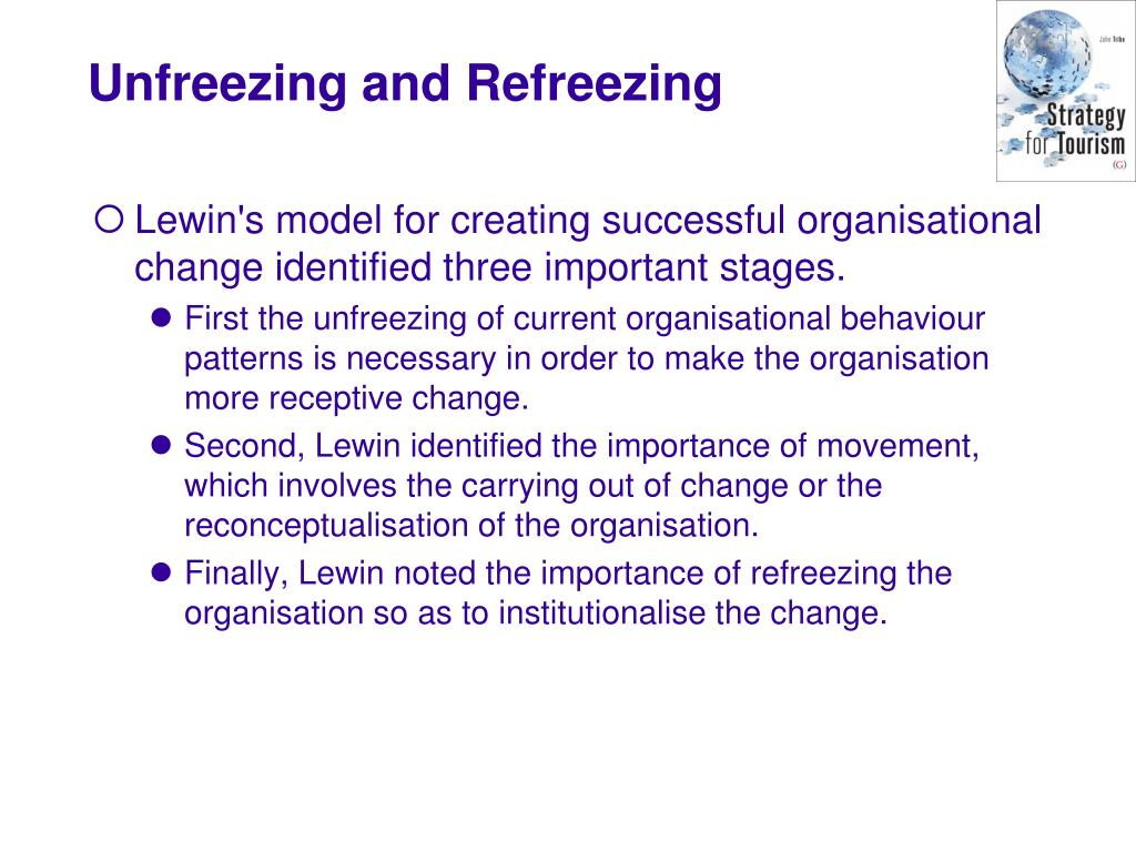 Lewin's model for creating successful organisational change identified three important stages.