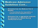 medicare admission guidelines cont