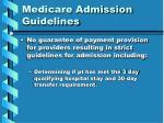 medicare admission guidelines