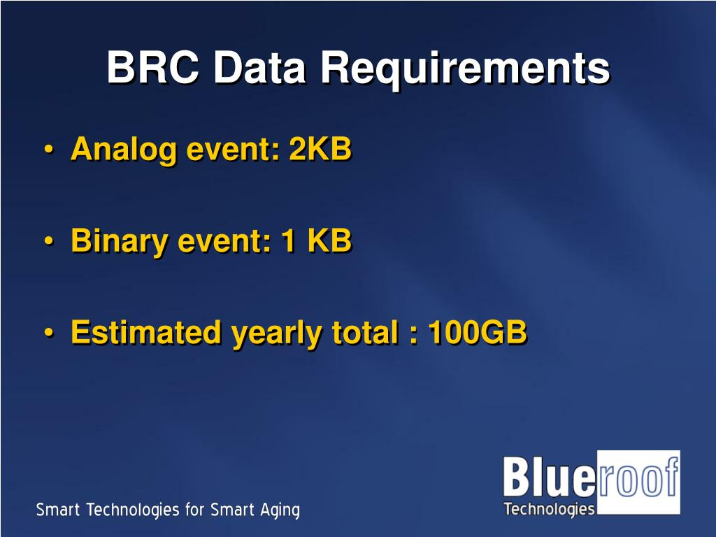 BRC Data Requirements