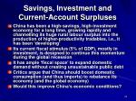 savings investment and current account surpluses