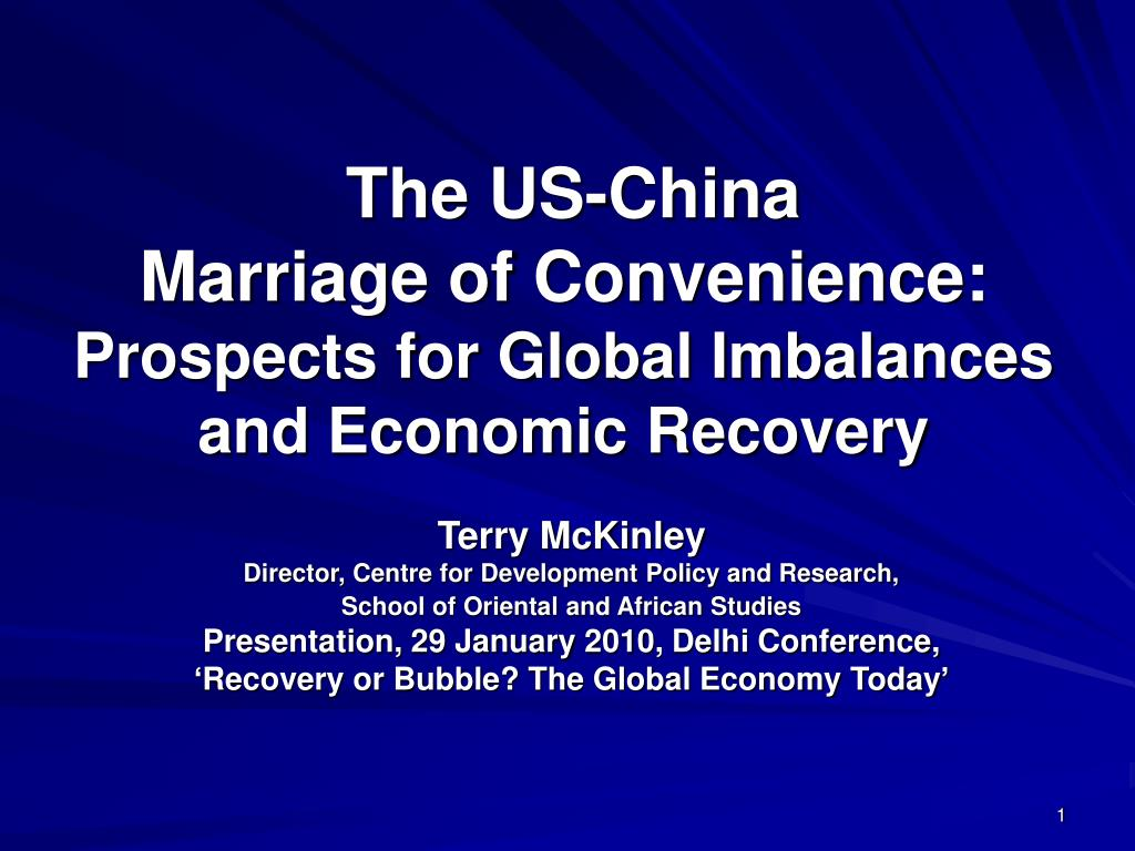 the us china marriage of convenience prospects for global imbalances and economic recovery l.
