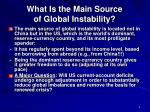 what is the main source of global instability