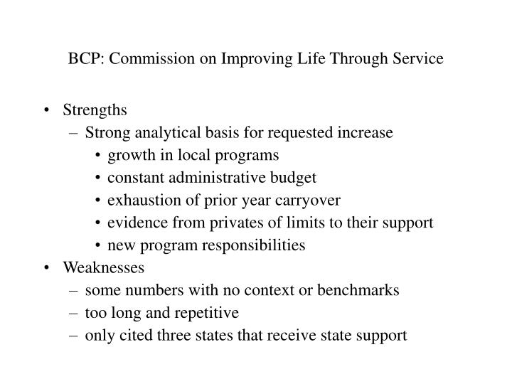 Bcp commission on improving life through service
