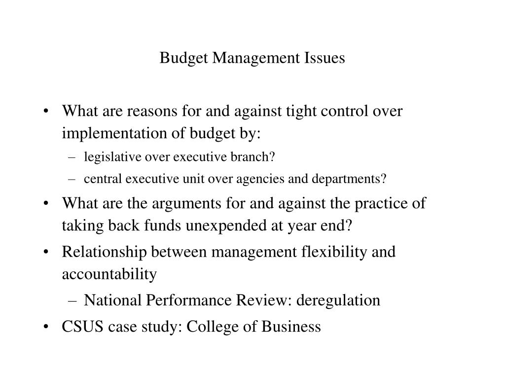 Budget Management Issues