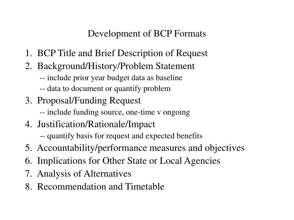 Development of BCP Formats