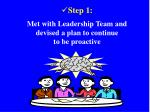 step 1 met with leadership team and devised a plan to continue to be proactive
