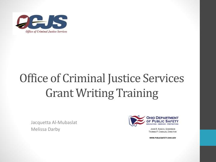 office of criminal justice services grant writing training n.