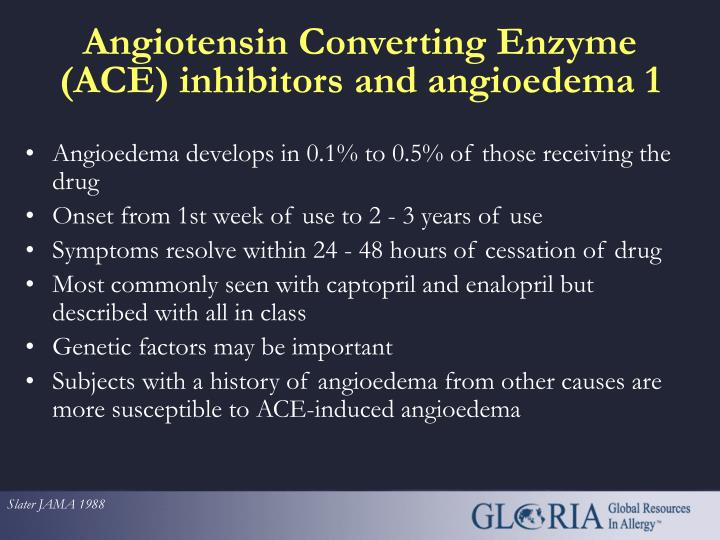 Angioedema develops in 0.1% to 0.5% of those receiving the drug