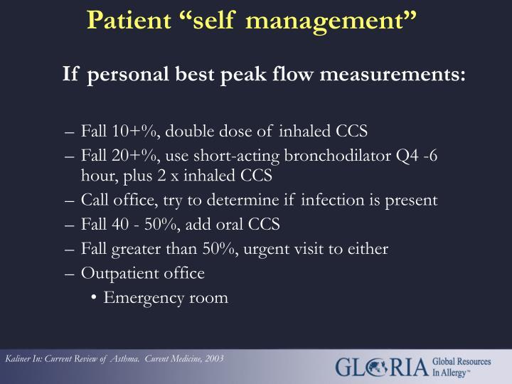 If personal best peak flow measurements: