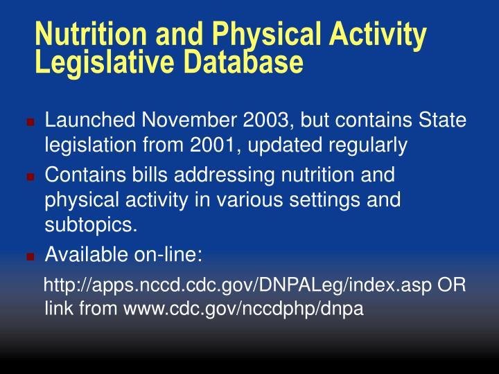 Nutrition and physical activity legislative database