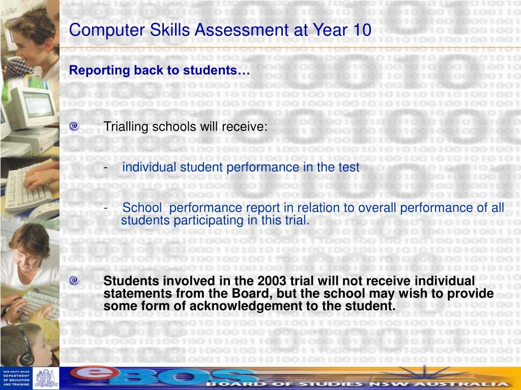 Computer Skills Assessment at Year 10