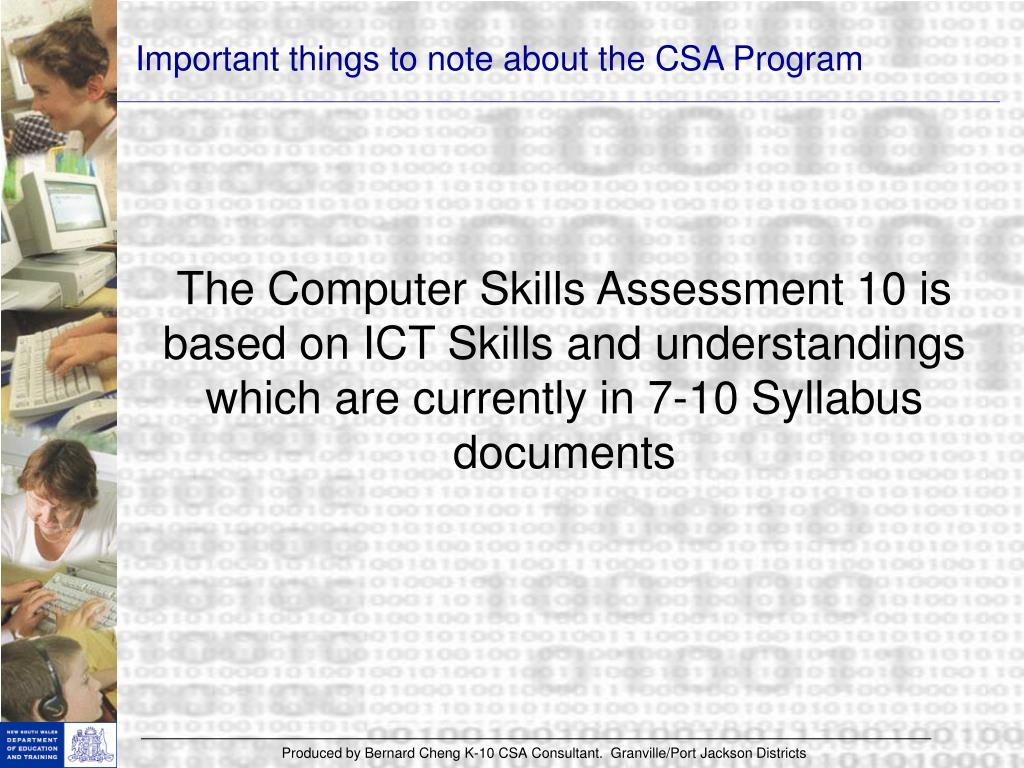 Important things to note about the CSA Program