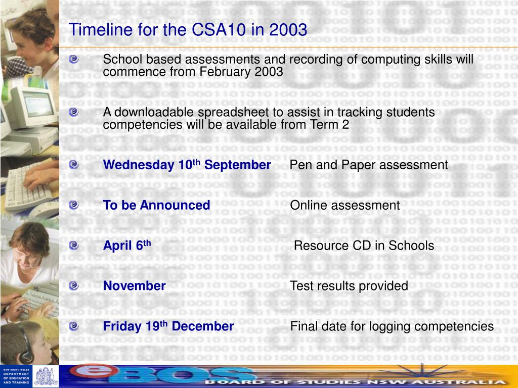 Timeline for the CSA10 in 2003