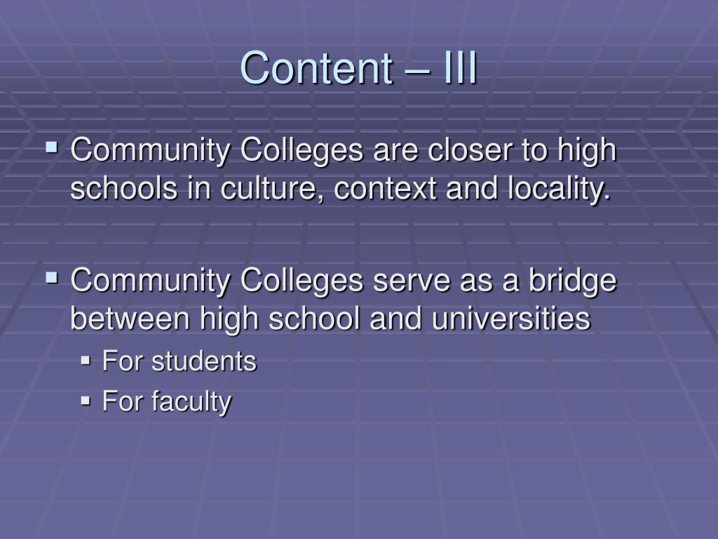 Content – III