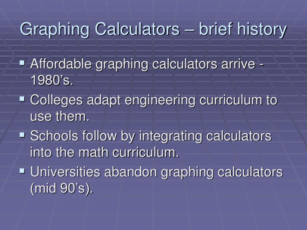 Graphing Calculators – brief history