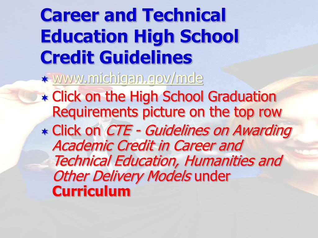 Career and Technical Education High School Credit Guidelines