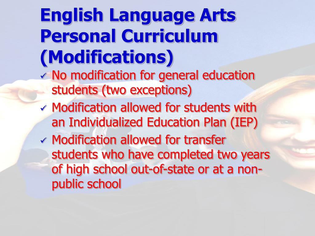 English Language Arts Personal Curriculum (Modifications)