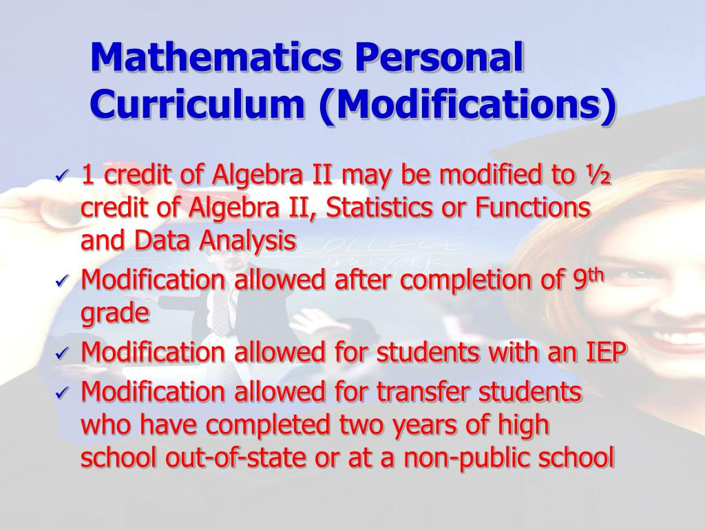 Mathematics Personal Curriculum (Modifications)