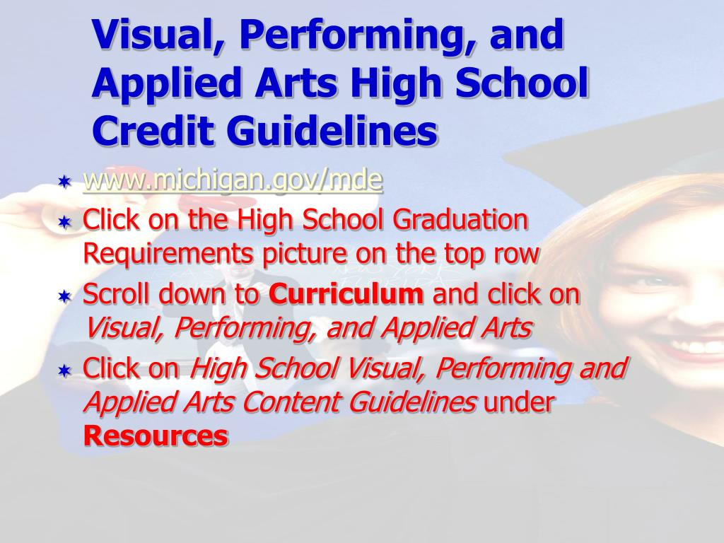 Visual, Performing, and Applied Arts High School Credit Guidelines