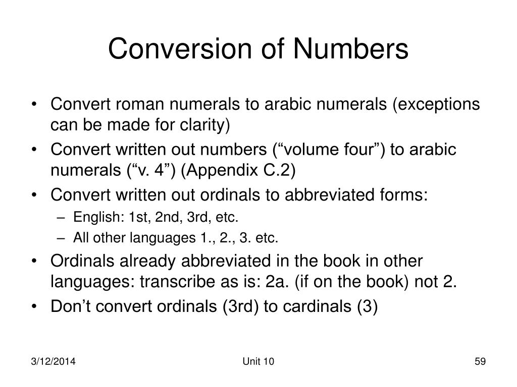 Conversion of Numbers