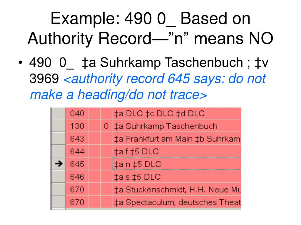 "Example: 490 0_ Based on Authority Record—""n"" means NO"