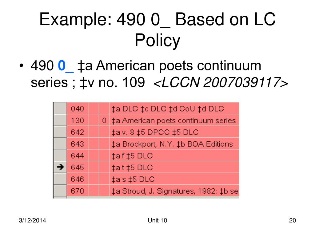 Example: 490 0_ Based on LC Policy
