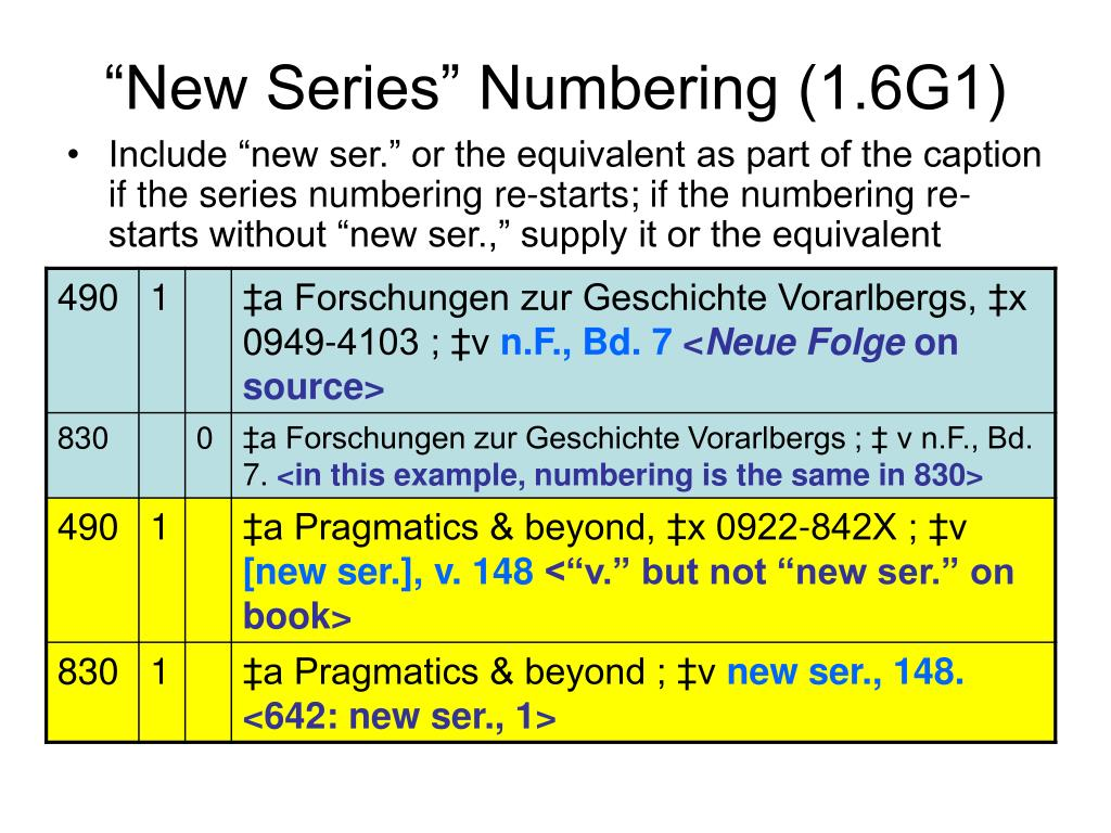 """New Series"" Numbering (1.6G1)"
