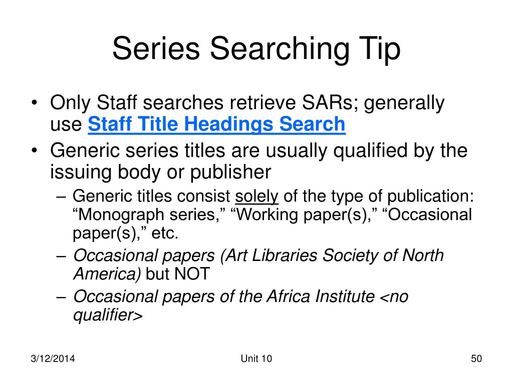 Series Searching Tip