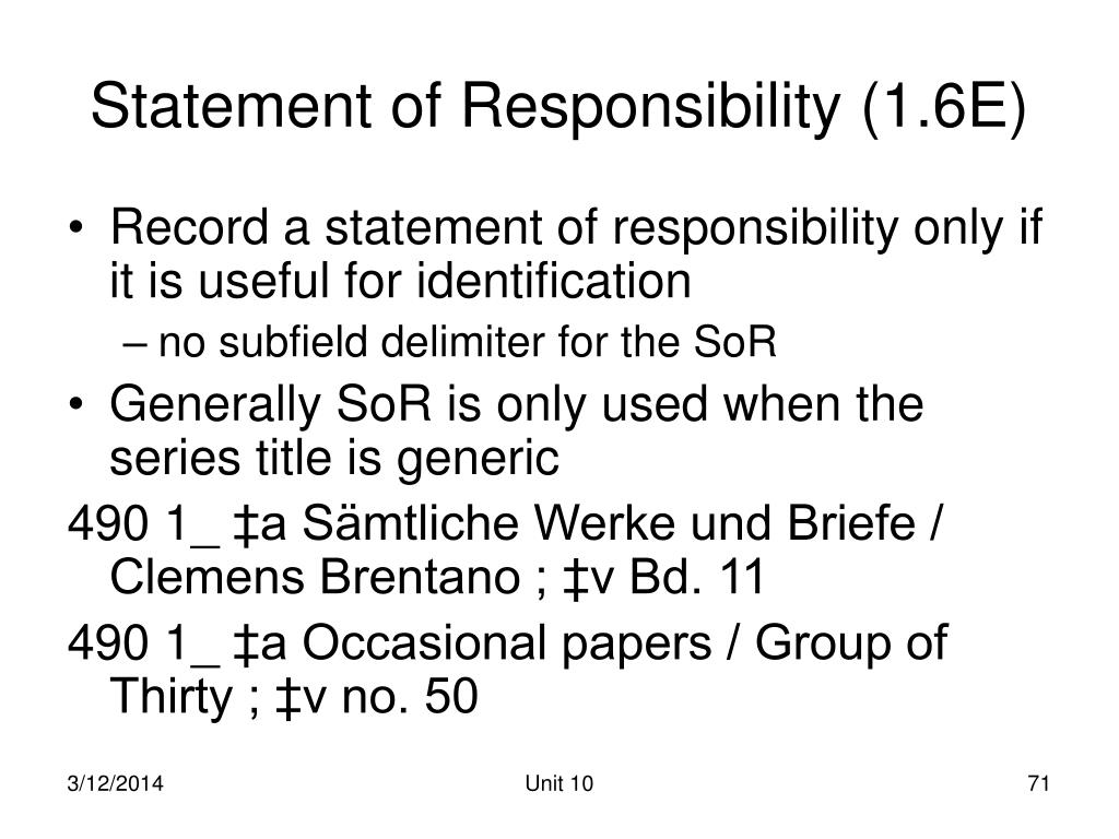 Statement of Responsibility (1.6E)